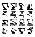 Industrial mechanical robot arm icons vector image vector image