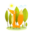 kids fox in wild trees vector image vector image