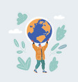 man who holding globe vector image vector image