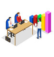managers on meeting talk about analysis diagram vector image