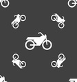 Motorbike icon sign Seamless pattern on a gray vector image vector image