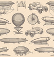 pattern with steampunk hand drawn airships vector image vector image
