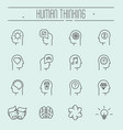 set head thinking icons in modern thin line vector image