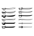 Set swords isolated on white background design