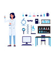 set with woman scientist and laboratory items vector image