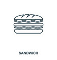 simple outline sandwich icon pixel perfect linear vector image vector image