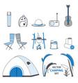 sketch camping elements set vector image vector image