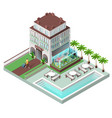 tourist hotel and sun loungers by pool vector image