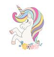 unicorn head with flower beautiful portrait vector image