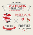 Valentines Day hand drawn set vintage style design vector image vector image