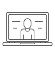 video laptop chat icon outline style vector image
