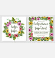 watercolor set of postcards template of wedding vector image