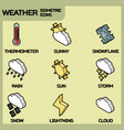 weather color outline isometric icons vector image vector image