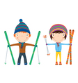 Winter ski kids vector | Price: 1 Credit (USD $1)