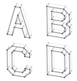wireframe font alphabet letters A B C D vector image vector image