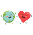 world and heart vector image vector image