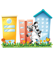A lemur at the garden near the tall buildings vector image vector image