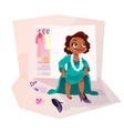 African american girl wearing moms clothes vector image