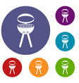barbecue grill icons set vector image vector image