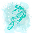 bike rider jumping on a artistic abstract vector image vector image