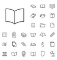 books outline thin flat digital icon set vector image