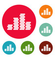 bundle coin icons circle set vector image