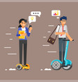 business characters on hoverboard vector image vector image
