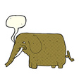 cartoon mammoth with speech bubble vector image vector image