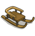 cartoon wooden brown sledge icon vector image
