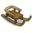 cartoon wooden brown sledge icon vector image vector image