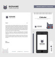 cat business letterhead calendar 2019 and mobile vector image