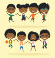 cheerful african american school boys and girls vector image