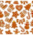 christmas festive ginger cookie seamless pattern vector image vector image