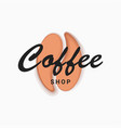 coffee shop bean logo on white background vector image vector image