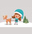cute girl santa helper with reindeer in snowscape vector image vector image