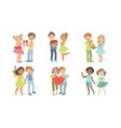 cute happy teenage couples set adorable boys and vector image vector image