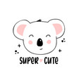 cute koala face with lettering vector image