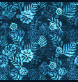 denim exotic leaf seamless pattern faded vector image vector image