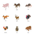 domesticated animal icons set isometric style vector image