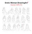 erotic womanbody nude line drawingart design vec vector image