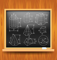 Geometric figures on black school board vector image vector image