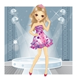 Girl In Pink Dress Dancing vector image