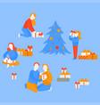 girl open gift present couple celebrate christmas vector image vector image