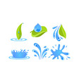 green leaves water drops and splashes ecology vector image