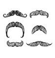 hand drawn black and white mustache set vector image vector image