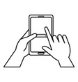 hand with smartphone device vector image vector image