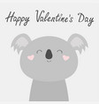 happy valentines day koala bear face head cute vector image vector image