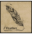 highly detailed hand drawn tattoo feather vector image vector image