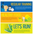 Jogging and running concept flat icons of gym vector image