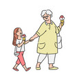 little girl and her grandmother eating ice-cream vector image vector image